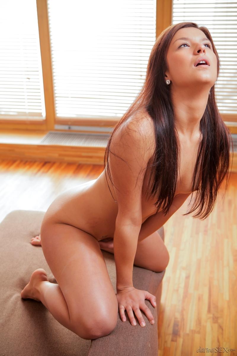 Naked brunette masturbating indoor-07