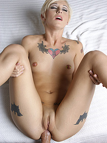 Tattooed Blondie Having Anal Sex